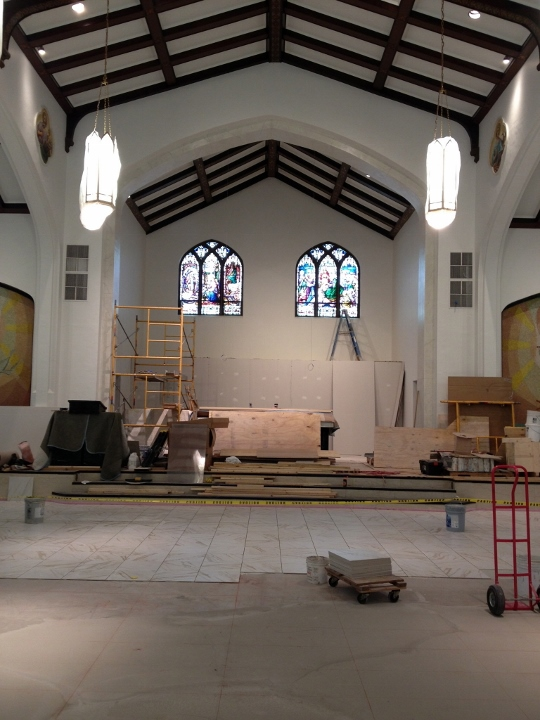 This picture shows a tile installation at Our Lady of Mount Carmel Basilica in Youngstown, Ohio. This project was completed by Youngstown Tile & Terrazzo