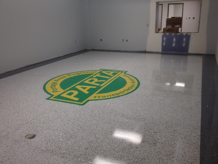 This image shows a commercial tile installation at a regional transportation authority. This project was completed by Youngstown Tile & Terrazzo.