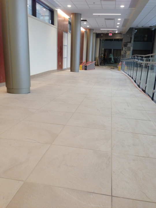 This image shows a commercial tile installation at a hospital. This tile project was completed by Youngstown Tile & Terrazzo.