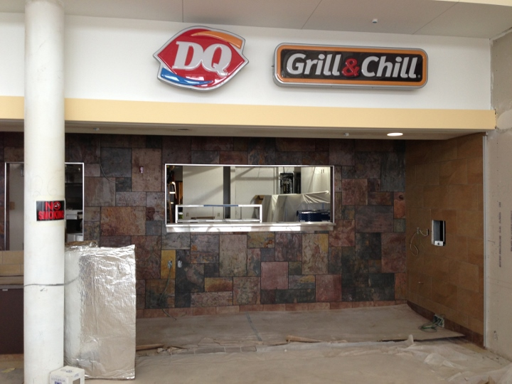 This image shows a commercial tile installation at a turnpike travel plaza. The tile was installed by Youngstown Tile & Terrazzo.