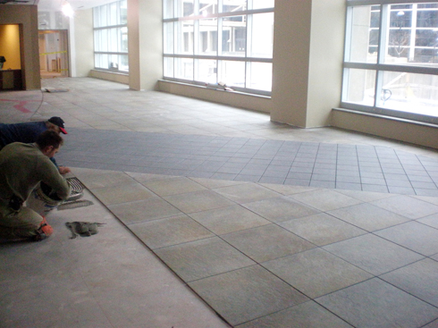 This image depicts a tile installation at Cleveland State University. This project was completed by Youngstown Tile & Terrazzo.